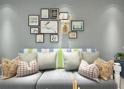 90平米簡歐風客廳沙發背景墻裝修效果圖