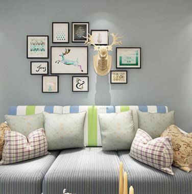 90平米简欧风客厅沙发背景墙装修效果图