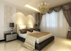 120平米簡歐風格臥室床頭背景墻圖片