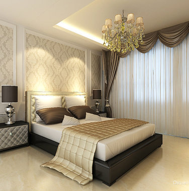 120平米简欧风格卧室床头背景墙图片