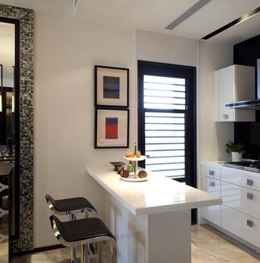 100平米现代风格厨房吧台隔断装修图