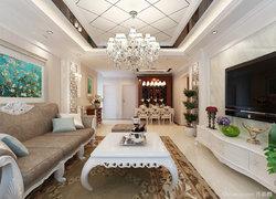 120平米歐式風格客廳燈具裝飾設計圖
