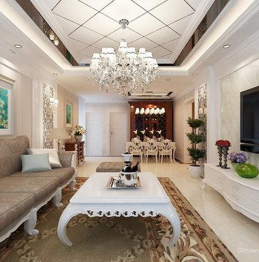120平米欧式风格客厅灯具装饰设计图