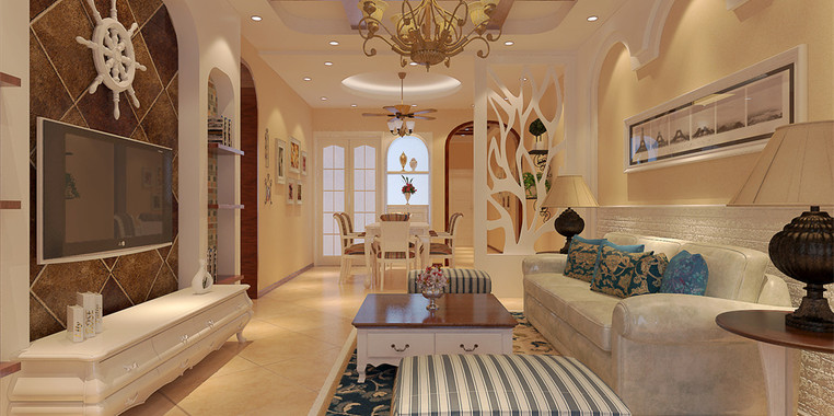 90多平米欧式风格三室一厅装修效果图