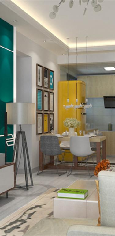 90平米现代风格两室一厅装修效果图