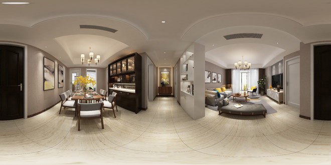 北欧风格客餐厅装修全景图