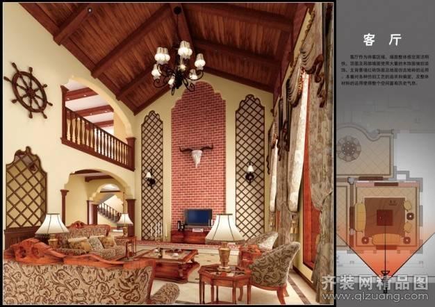 双溪漂流别墅500㎡普通户型美式风格装修案例