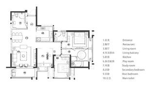 青島118㎡中式風格裝修效果圖