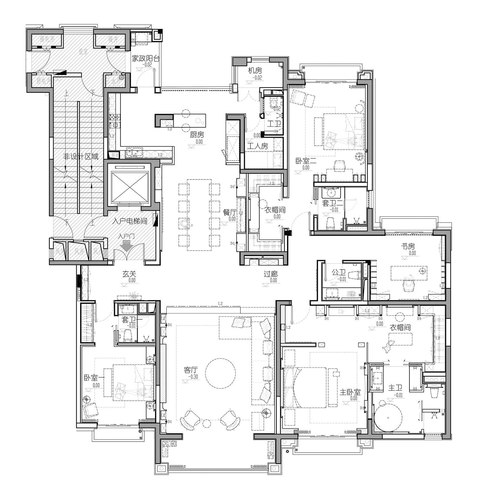 卓越蔚藍府邸現代簡約裝修效果圖