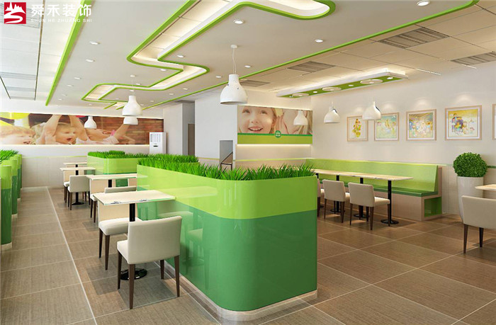 济南餐饮连锁店加盟店快餐店装修设计公司现代简约装修效果图