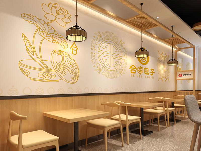 济南设计中式餐饮店餐馆快餐店的装修公司中式风格装修效果图