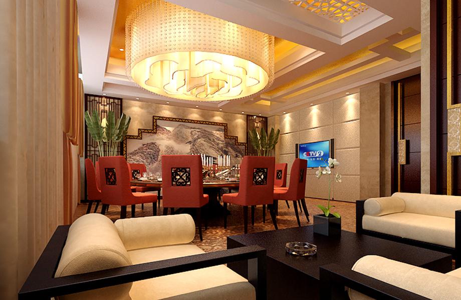 淄博设计酒楼婚宴饭店宴会厅的餐饮装修公司中式风格装修效果图