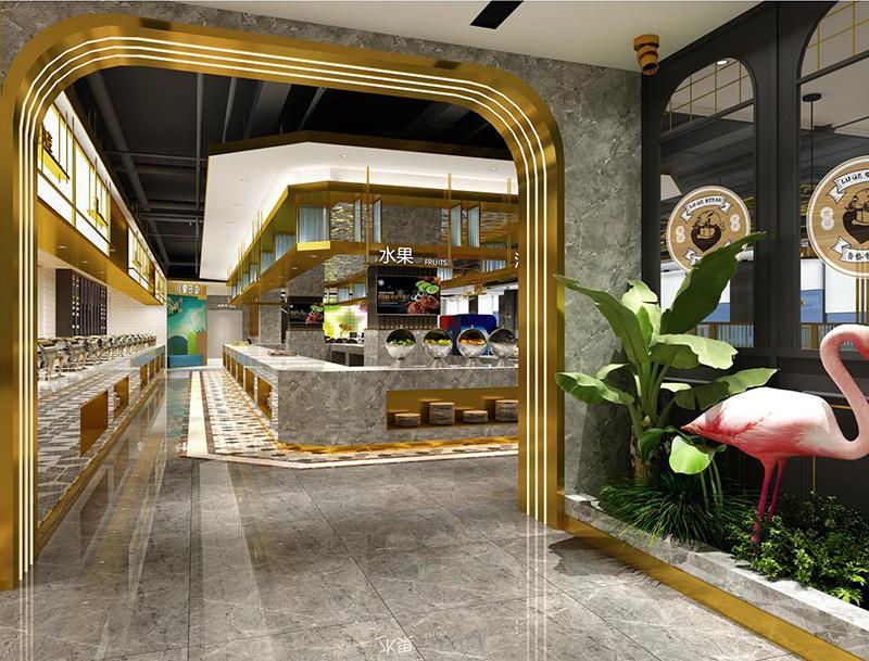 青岛做设计海鲜火锅烤肉自助餐厅的装修公司现代简约装修效果图