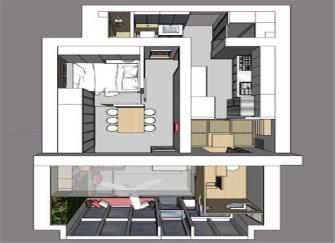 50平米旧房改造装修 三室两厅两卫极限格局太赞!