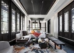 常州别墅装修公司哪家好 大名城380平米别墅中式装修费用100万效果