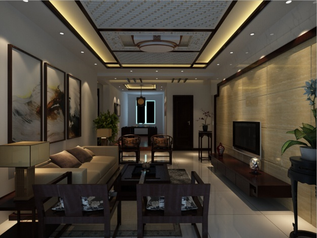 仁恒公寓中式风格装修效果图