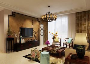 济南108㎡中式风格装修效果图