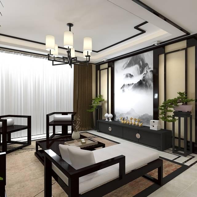 景龙大厦90㎡普通户型中式风格装修案例