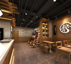 餐饮店铺中式风格装修案例