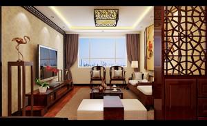 济南128㎡中式风格装修效果图