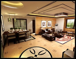 济南170㎡中式风格装修效果图