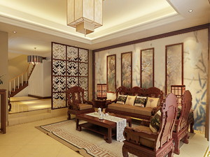 济南200㎡中式风格装修效果图