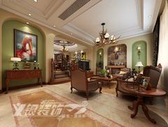 [义银装饰]凤凰城联排别墅设计效果图美式风格装修案例