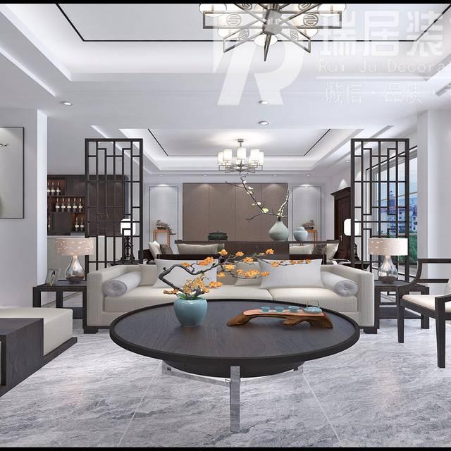[瑞居装饰]华强颐景湾畔145...145㎡普通户型中式风格装修案例